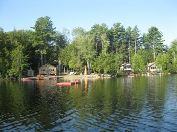Shot of our Maine lake cabin rentals